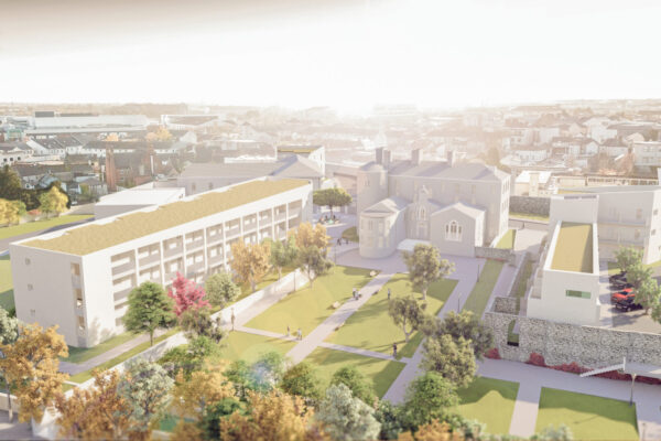 OBFA render of proposed design for Portlaoise Convent lands housing and urban realm with clients Sophia Housing and Laois County Council